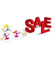 Women Hurry Run to Sale Text vector image vector image