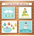 Christmas cards collection with cute buttons vector image