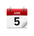 June 5  flat daily calendar icon Date and vector image