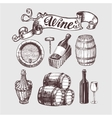 Wine and winemaking vintage set vector image