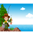 fisherman cartoon vector image vector image
