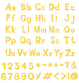 alphabet design in yellow color vector image