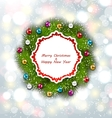Celebration Card with Christmas Wreath and Balls vector image