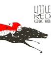 Little Red Riding Hood on Black Wolf Running vector image