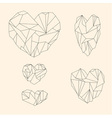 Set of mineral heart-shaped crystals vector image