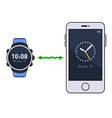 smart watch and phone time synchronization vector image