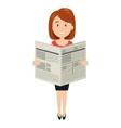 avatar woman reading newspaper vector image
