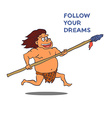 Cartoon Male Caveman Character with spear vector image