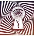 Mystic eye peeping through the keyhole vector image