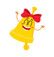 cute funny smiling golden school bell character vector image