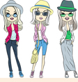 hipster girls in hats and glasses vector image vector image