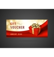 Voucher template with gift box and bow vintage vector image vector image