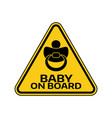 baby on board sign with child nipple silhouette vector image