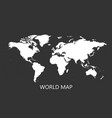 blank white world map isolated on black vector image