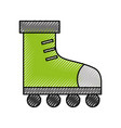 cute scribble green roller skates vector image