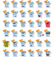 set of bucket and beach shovel character emojis vector image