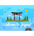 Welcome to Japan poster with famous attraction vector image