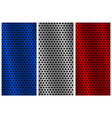 metal perforated backgrounds blue silver and red vector image