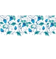 blue green swirly flowers horizontal border vector image