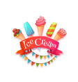 Ice cream banner with red ribbon vector image