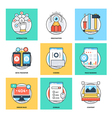 Flat Color Line Design Concepts Icons 11 vector image