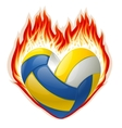heart shaped volleyball on fire vector image