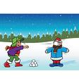 snowfight boys vector image