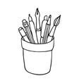 pencil cup icon vector image vector image