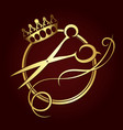 scissors and a crown of gold color symbol vector image vector image