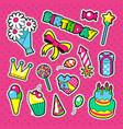 happy birthday party decoration stickers vector image
