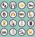 set of icons of the gas and oil industry vector image