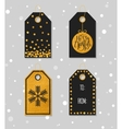Gold textured festive gift tags vector image