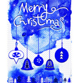Merry Christmas card Christmas bubbles trees and vector image