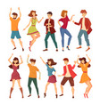 set of isolated dancing men and women vector image