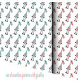 set of seamless pattern with cheerful giraffe vector image