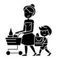 shopping grocery - mother with son and shopping vector image