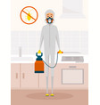 pest control service worker in chemical protective vector image