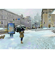 digital art painting of winter city landscape vector image vector image