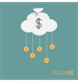 Cloud in shape of bag hanging coins with dollar vector image