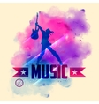 Rock star with guitar for musical background vector image