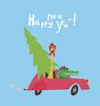 New year card with alligator and giraffe vector image