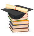 graduation cap and diplom with books vector image vector image