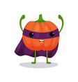 angry pumpkin cartoon flat character in superhero vector image