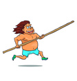 Cartoon running pole vaulter character vector image