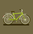 Green bicycle on dark background vector image