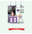 Mother cooking and babysitting her kid Kitchen vector image