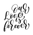 our love is forever wedding text on white vector image