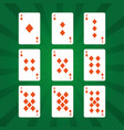 poker playing cards diamonds suit on green vector image