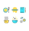 set of flat line cooking icons vector image