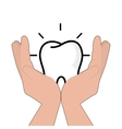 hands holding a human tooth vector image
